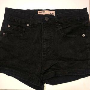 garage retro high waisted black denim shorts